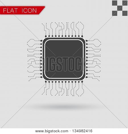 processor Icon Flat App Web Flat Style with red mark