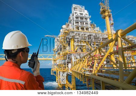 Operator technician,Operator technician on the job in Gas platform or rig platform