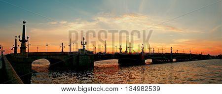 Trinity Bridge at night in St. Petersburg. Russia