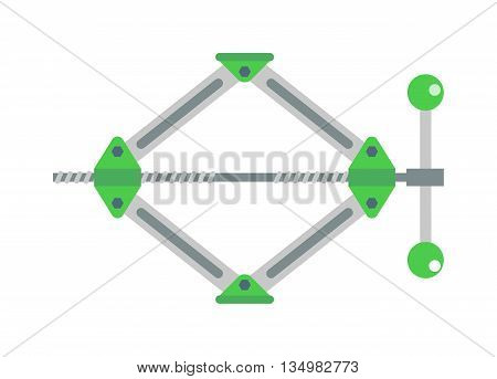 scissor car jack shot steel repair auto service lift flat vector illustration on white.
