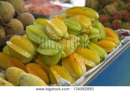 Star Fruit on tray in Market of Thailand