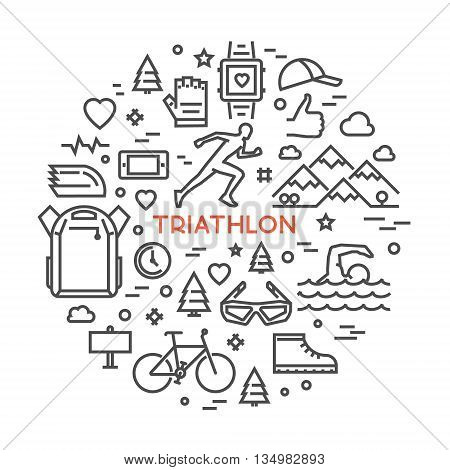 Vector line design concept web banner for triathlon. Line creative style concept for web. Open path.