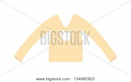 Elegant cotton blouse with long classic sleeves. vector