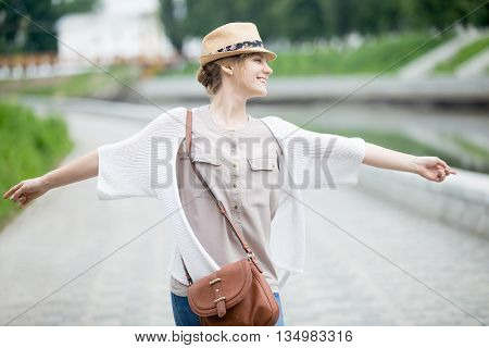 Young Joyful Happy Traveler Woman In Straw Hat Enjoying Her Trip