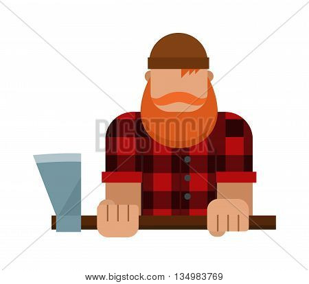 Lumberjack, woodman, woodcutter with an ax vector.