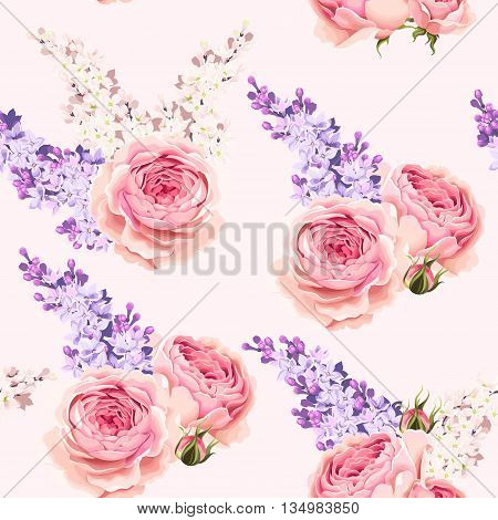 Vintage english roses and lilac vector seamless background