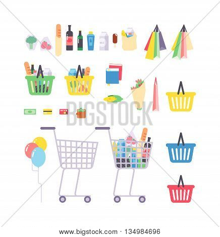 Full shopping basket with products isolated on white. Supermarket products
