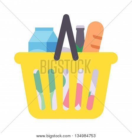 Shopping basket full of healthy organic fresh and natural food.