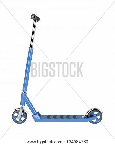Side view of kick scooter isolated on white background, 3D illustration
