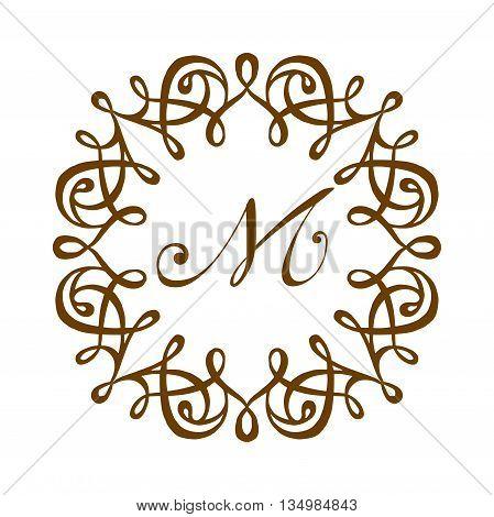 M logo badge initial circle company. Business design M logo badge.