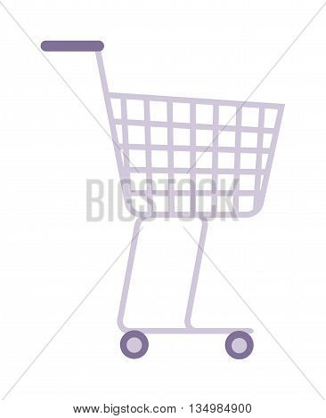 Shopping trolley supermarket cart vector.