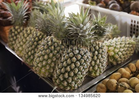 pine apples in the Market / selective focus