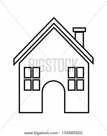 Family home represented by traditional house with door and windows design, isolated and flat illustration
