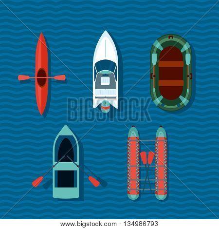 Cartoon vector boats on a water. Flat style illustartion