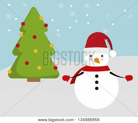 Merry Christmas holidays concept represented by snowman and pine tree cartoon icon over flat and isolated background