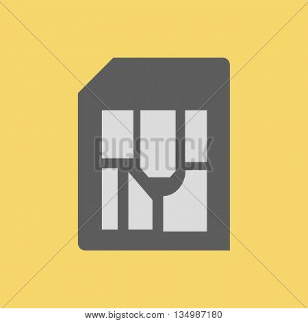 Sim card icon on a yellow background. Vector illustration