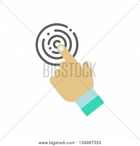 Touch icon with hand on a white background. Vector illustration