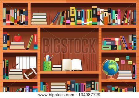 A vector illustration of wooden bookshelves with copyspace
