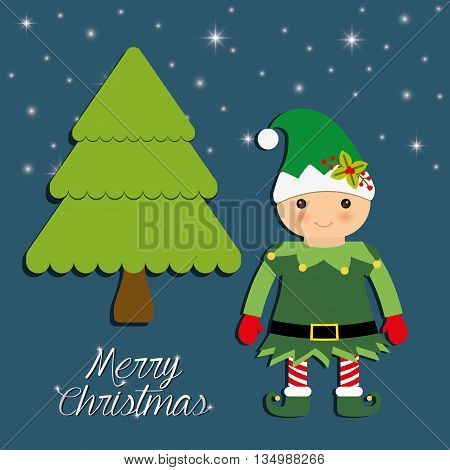Merry Christmas holidays concept represented by elf cartoon and pine tree icon over flat and isolated background