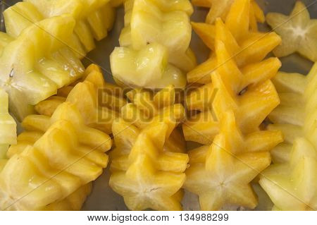 Slice of Star Fruit on tray /Top view