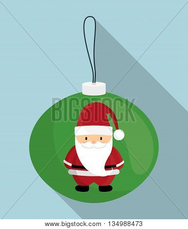 Merry Christmas holidays concept represented by Santa cartoon inside sphere icon over flat and isolated background