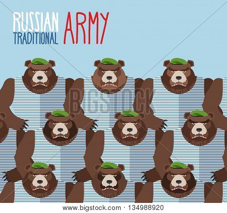 Russian national army of bears in Green Berets. Military seamless pattern of animals
