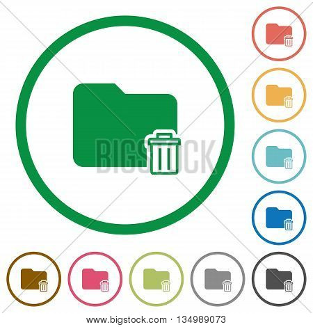 Set of delete folder color round outlined flat icons on white background