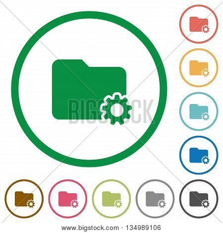 Set of folder settings color round outlined flat icons on white background