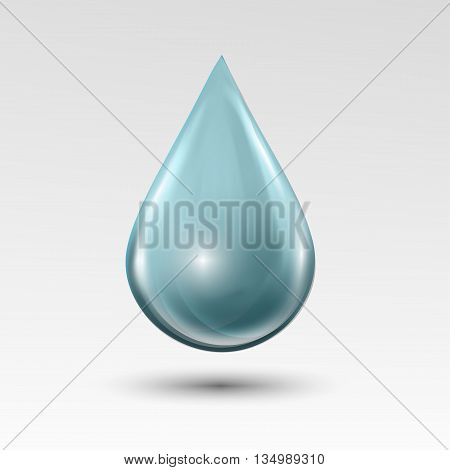 Water drop on light gray background. Water bubble with glares and highlights. Metal chrome droplet. Abstract vector illustration EPS 10 for your design and business
