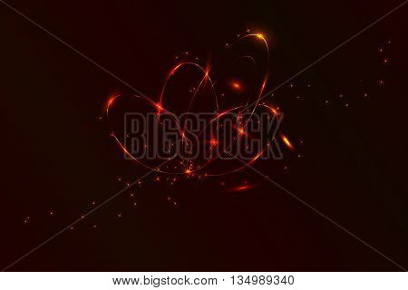 Abstract circular plasma explosion. Circle neon lights with lot of sparkles in red colors. Abstract wallpaper with fire sparkles and circular neon lines.