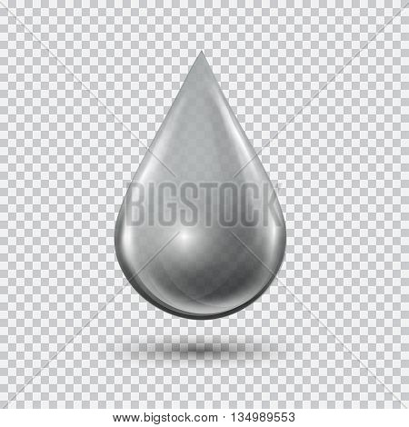 Transparent water drop on light gray background. Water bubble with glares and highlights. Metal chrome droplet. Abstract vector illustration EPS 10 for your design and business