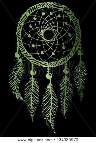 Hand-drawn green gradient native american dream catcher with feathers and beads on a black background. Ethnic illustration, tribal