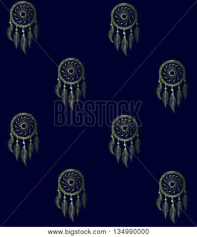 Drawing of a seamless pattern with green gradient native american dreamcatcher on a dark blue background