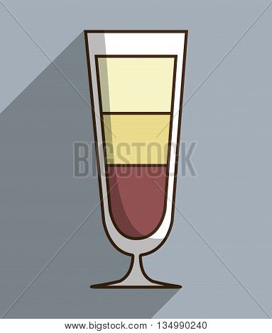 Drinks glass, style cocktail, colorfull design with shadow and flat illustration
