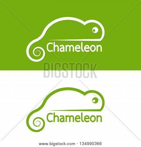 Vector image of chameleon design on white background and green background Vector chameleon for your design.