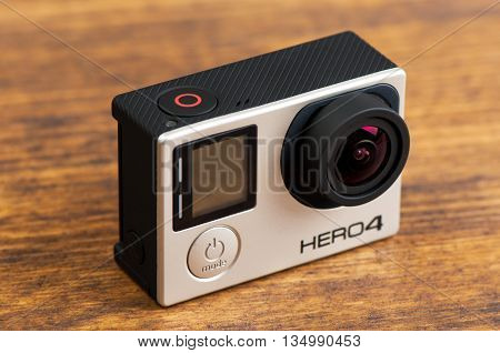 NOVI SAD SERBIA - JUNE 19 2016: GoPro Hero 4 Black waterproof action camera announced in september 2014 illustrative editorial