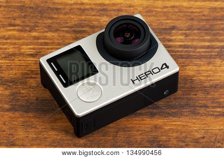 NOVI SAD SERBIA - JUNE 19 2016: GoPro Hero 4 Black waterproof action camera announced in september 2014 is able to capture 4k uhd footage illustrative editorial