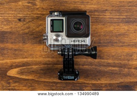NOVI SAD SERBIA - JUNE 19 2016: GoPro Hero 4 Black waterproof action camera announced in september 2014 captures up to 30 photos per second illustrative editorial