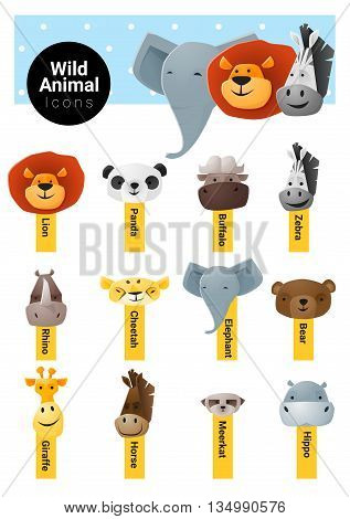 Set of cute animal icons wildlife , vector, illustration