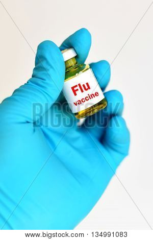 The bottle of Influenza virus vaccine for injection