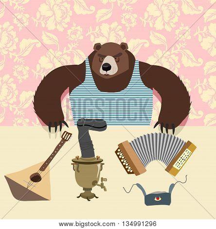 Russian Bear With Balalaika. Samovar. Cartoon Animal