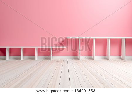 Empty interior light pink room with white shelf and wooden floor For display of your products. - 3D render image