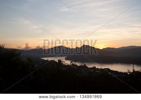 Sunset above Mekong river in Luang Prabang (Louangphrabang) Laos
