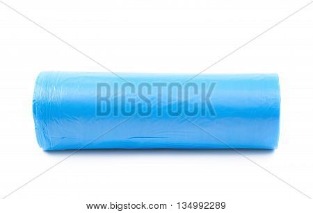 Blue plastic polyethylene trash bag roll isolated over the white background