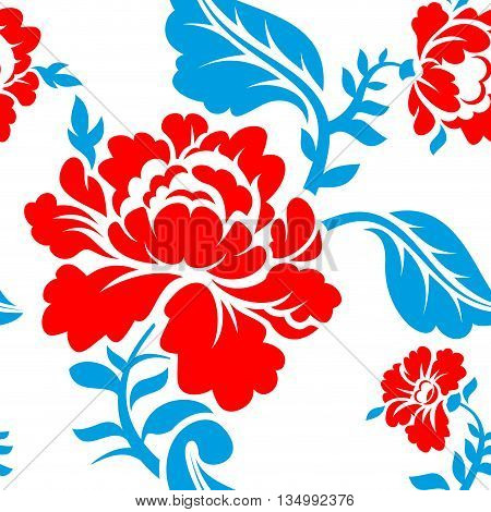 Russian national flower pattern. Colors of Russia flag. Tricolor: red blue and white. Patriotic floral ornament. Historic traditional decorative cultural texture