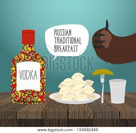 Russian Traditional Breakfast: Vodka, Dumplings And Pickle. Bears Paw. National Folk Food In Russia