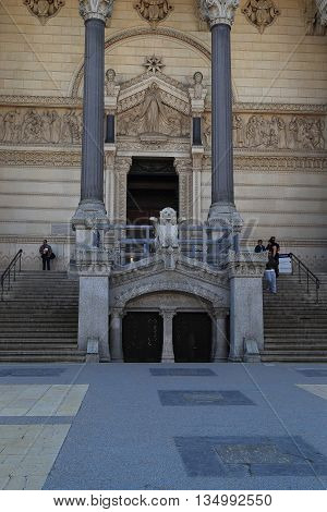 LYON, FRANCE - MAY 24, 2015: This is the entrance to the crypt of the Basilica of Notre-Dame de Fourviere.