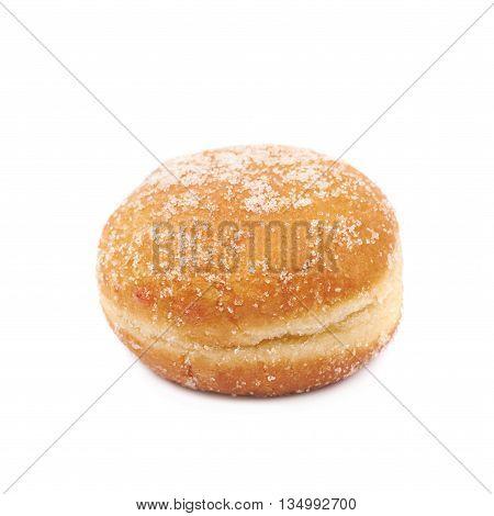 Jam filled doughnut isolated over the white background
