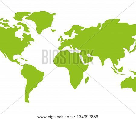 Earth concept represented by green continents icon over flat and isolated background