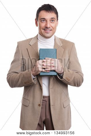 Handsome Man Holding Book. Isolated
